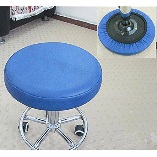 Weichuang tragbarer runder Hocker-Bezug mit DREI Schichten Stuhlschutz Kunstleder Schonbezug für Zuhause, blau