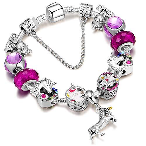 YOUFENG Jewellery Puppy Dog Charm Bracelet Bangle Charm Bracelet Pink Murano Glass Bead Birthstone Charm Bracelet for Girls (Charm Bracelet)
