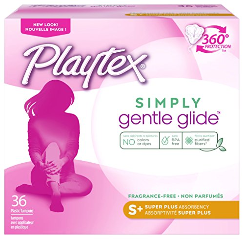 Playtex Simply Gentle Glide Unscented Tampons Super Plus Absorbency 36 Count Pack of 1 Packaging May Vary