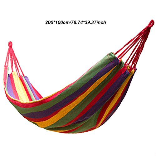 MMWYC Outdoor Cotton Hammock, Portable Hammock Camping Load Capacity Up To 300 Kg Portable With Carrying Bag For Patio Yard Garden Red (Size : 200 * 100cm)