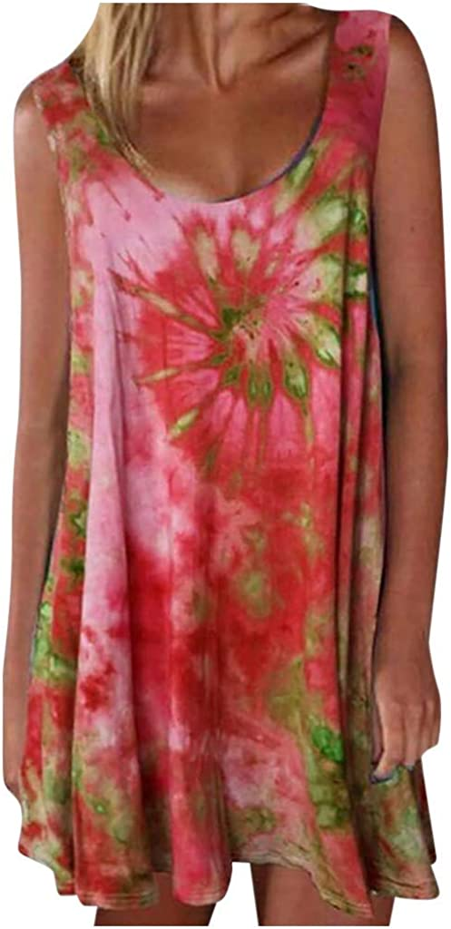 Tie Dye sold out Floral Print Tank Dress Sleevele Women Casual Summer for Al sold out.