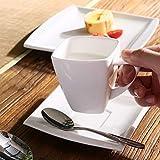 MALACASA, Serie Blance, 60 TLG. CremeWeiß Porzellan Geschirrset Kombiservice Tafelservice mit je 12 Kaffeetassen, 12 Untertassen, 12 Dessertteller, 12 Suppenteller und 12 Flachteller - 4