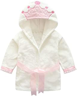 iLOOSKR Baby Boy Girl Child Bathrobe Crown Print Hooded Bath Towel Cloak Robe
