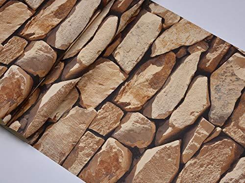 3D Ladrillo Papel tapiz Papel tapiz Etiquetas de pared Rústico Realista Faux Piedra Textura Vinilo PVC Papel de Pared Impermeable Vintage Decoración ( Color : 001 dark brown , Dimensions : 45cmx10m )