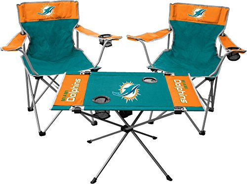 Rawlings NFL 3-Piece Tailgate Kit, 2 Gameday Elite Chairs and 1 Endzone Tailgate Table, Miami Dolphins