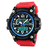Mens Analog Digital Watch LED 50M Waterproof Outdoor Sport Watches Military Multifunction Casual Dual Display 12H/24H Stopwatch Calendar Wrist Watch- Red Blue