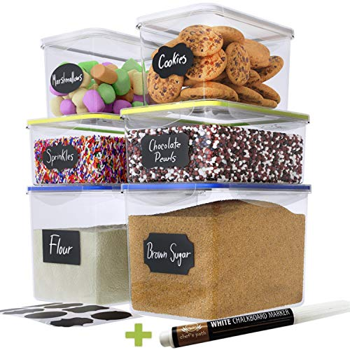 Chef's Path Food Storage Containers - Pantry Organization - Great for Flour, Sugar, Baking Supplies - Airtight Kitchen Bulk Food Canisters - BPA-Free - 6 PC Set - 8 Labels & Pen
