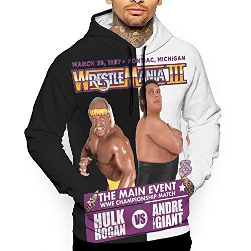 XCNGG Herren Hoodie Herren Pullover Hulk Hogan Vs Andre The Giant Men's Hoodie Sweatshirt White