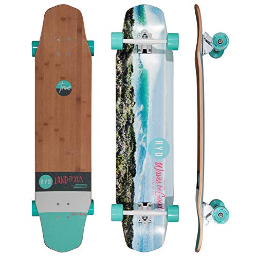 NENGGE Erwachsene Skateboard Komplettboard, Professionell 4 Rädern Longboard Skateboards, Komplett Montiert, Kinder Anfänger Trick Skateboard,Coastline
