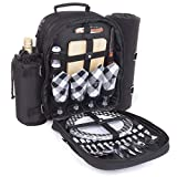 Plush Picnic - Picnic Backpack for 4/Picnic Basket for 4/Picnic Bag for 4/Picnic Set for 4 with Cooler Compartment, Detachable Bottle/Wine Holder, Fleece Blanket, Plates and Cutlery Set