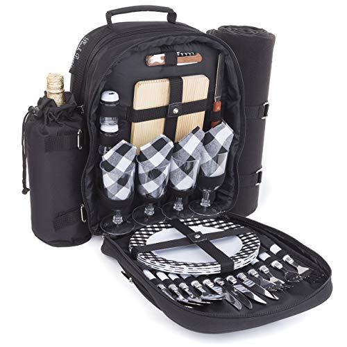 Plush Picnic - Picnic Backpacks (Four Person Black)
