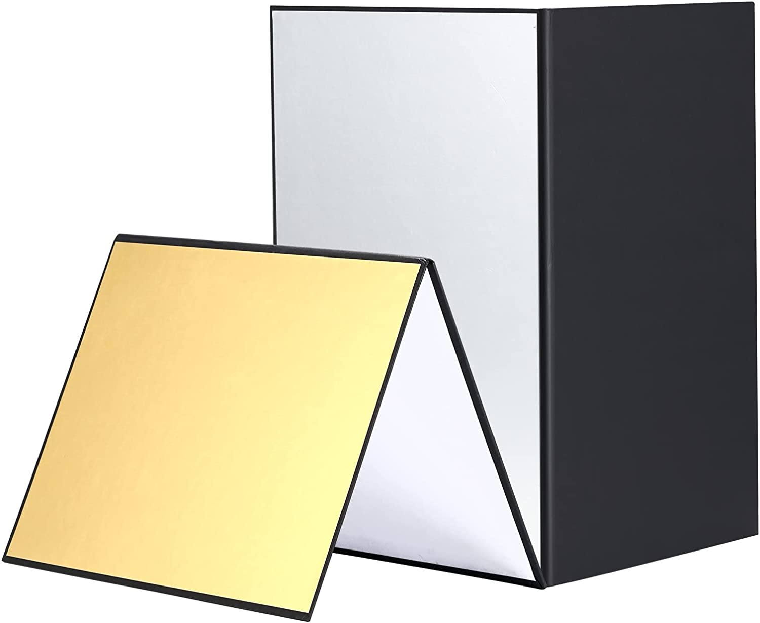 """Soonpho 2 pcs Light Reflector Photography Cardboard, 12"""" x 8""""/30 x 20cm Studio Folding Light Diffuser Board for Still Life, Product and Food Photo Shooting -Silver/Gold/White/Black : Camera & Photo"""