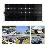 Kunyoxiu 160W Pannelli Solari Monocristallini, Dispositivo di Ricarica Solare da Esterno Ultra Sottile Alimentatore da Campeggio Flessibile con Pannello Solare monocristallino da Portatile