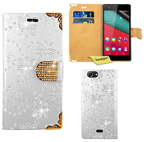 FoneExpert® Wiko Pulp 4G Handy Tasche, Bling Luxus Diamant Hülle Wallet Hülle Cover Hüllen Etui Ledertasche Premium Lederhülle Schutzhülle für Wiko Pulp 4G