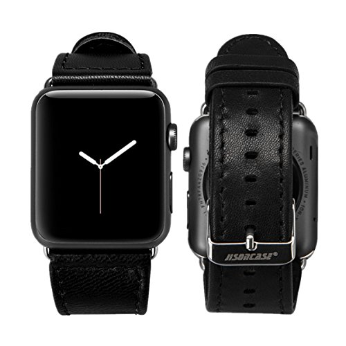 Jisoncase Compatible 38MM Apple Watch Band Genuine Lambskin Leather iWatch Replacement Watchbands with Classic Buckle for Apple Watch Sport Edition, Black (for 38MM Version) TC-AW3-17L10