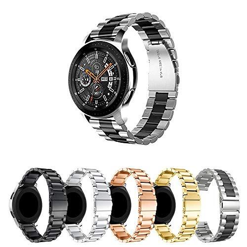 Pulseira Metal 3 Elos para Samsung Gear S3 Frontier - Gear S3 Classic - Galaxy Watch 46mm BT - Amazfit GTR 47mm - Amazfit Stratos 3 - Marca Ltimports (Prata com Preto)
