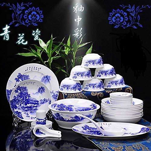 AYHa Juego de vajilla Bone China - Vajilla de jardín de 44 piezas/Vajilla china de porcelana azul y blanca