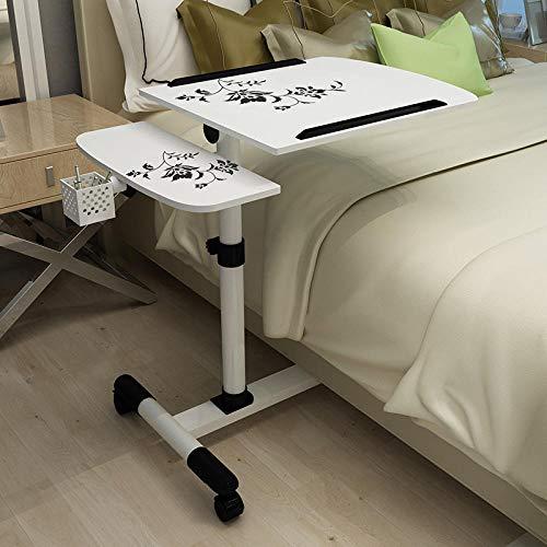 Lazy Home Laptop computadora de Escritorio Cama con Escritorio de computadora fácil de Mover Mesa de Noche móvil de elevación Altura Ajustable 65-90cm-Flor Negra + Portalápices sobre Blanco