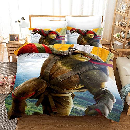 Duvet Bedding Covers Full Size Bedding for Boys Teenage Mutant Ninja Turtles 3D Printed Decor Microfiber 1 Duvet Cover + 2 Pillow Shams