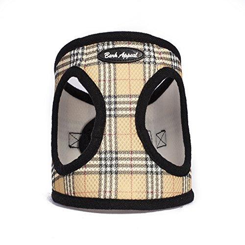 Bark Appeal Plaid Comfort Padded Pet Vest Mesh EZ Wrap Puppy Harness, X-Large, Tan