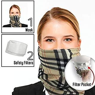 Bandana Scarf Face Mask with 2 Carbon Filters - Cloth Headband for Men & Women
