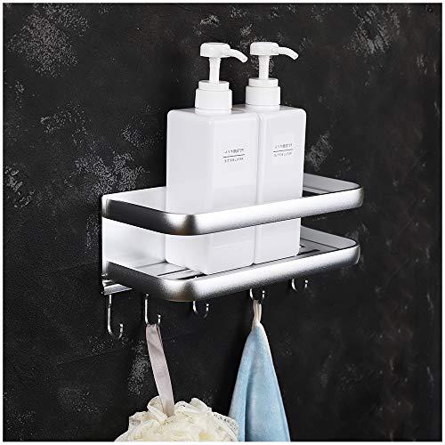 FORIOUS Duschregal ohne Bohren, Dusche Eckregale Badezimmer, Patentierter Kleber + Selbstklebend, Aluminium, Mattes Finish