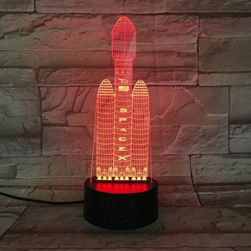 Preisvergleich Produktbild Neuheit Bunte Raumfahrt Rakete 3D Nachtlicht Illusion Lampe Led-beleuchtung Wohnkultur Kinder Geschenke Home Office Dekorationen Lampe