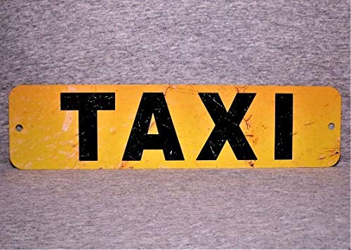 Dozili Metallschild Taxi Taxikab Fahrer Taxis City öffentlichen Transport Stand Street Service Aluminium Garage Mann Höhle Wand