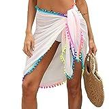HY HYERSPACE Womens Beach Sarong Semi-Sheer Swimwear Cover Ups Short Skirt with Tassels Ch...