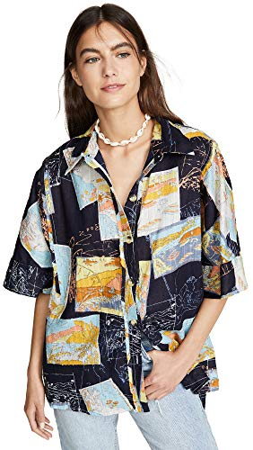 Free People Women's Love Letters Button Down Shirt, Navy, Blue, Print, X-Small