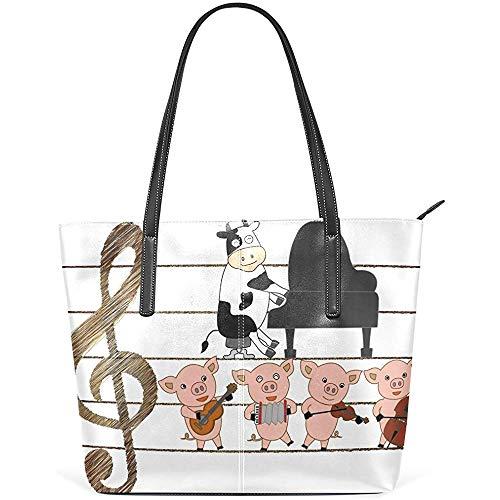 G.H.Y Muisc Cow Pig Piano PU Leder Schultertasche Handtasche für Frauen Mädchen