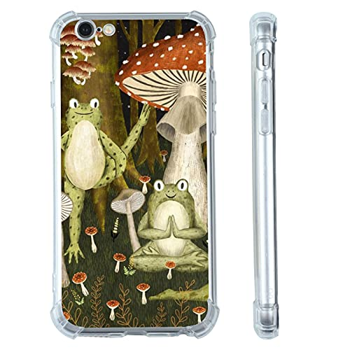 Frog Mushroom iPhone XR Case,Cute Forst Yoga Frog Mushroom Cottagecore Aesthetic with Design iPhone XR Case for Girls Women TPU Bumper Protective Case Compatible for Apple iPhone