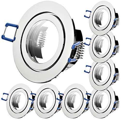 8 x Bad Einbaustrahler 12V inkl. MR16 Fassung Farbe Chrom IP44 Deckenspots Neptun Rund Einbauleuchten