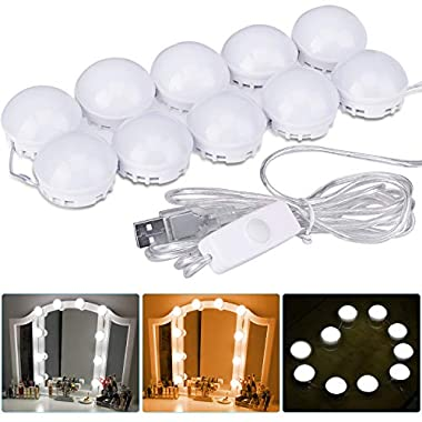 uniwood Hollywood Style LED Vanity Mirror Lights Kit, Dimmable Light Bulbs with Hidden Rotating Fixture Strip for Bathroom Vanity Lighting/Dressing Cosmetic Mirror Table (10 Bulbs)