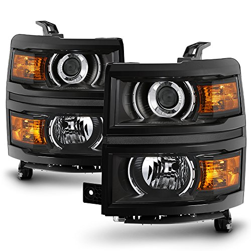 For 2014 2015 Chevy Silverado 1500 Pickup Truck Black Bezel Porjector Headlight Lamp Assembly Driver + Passenger Side
