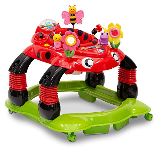Delta Children Lil Play Station 4-in-1 Activity Walker - Rocker, Activity Center, Bouncer, Walker - Adjustable Seat Height - Fun Toys for Baby,  Sadie the Ladybug