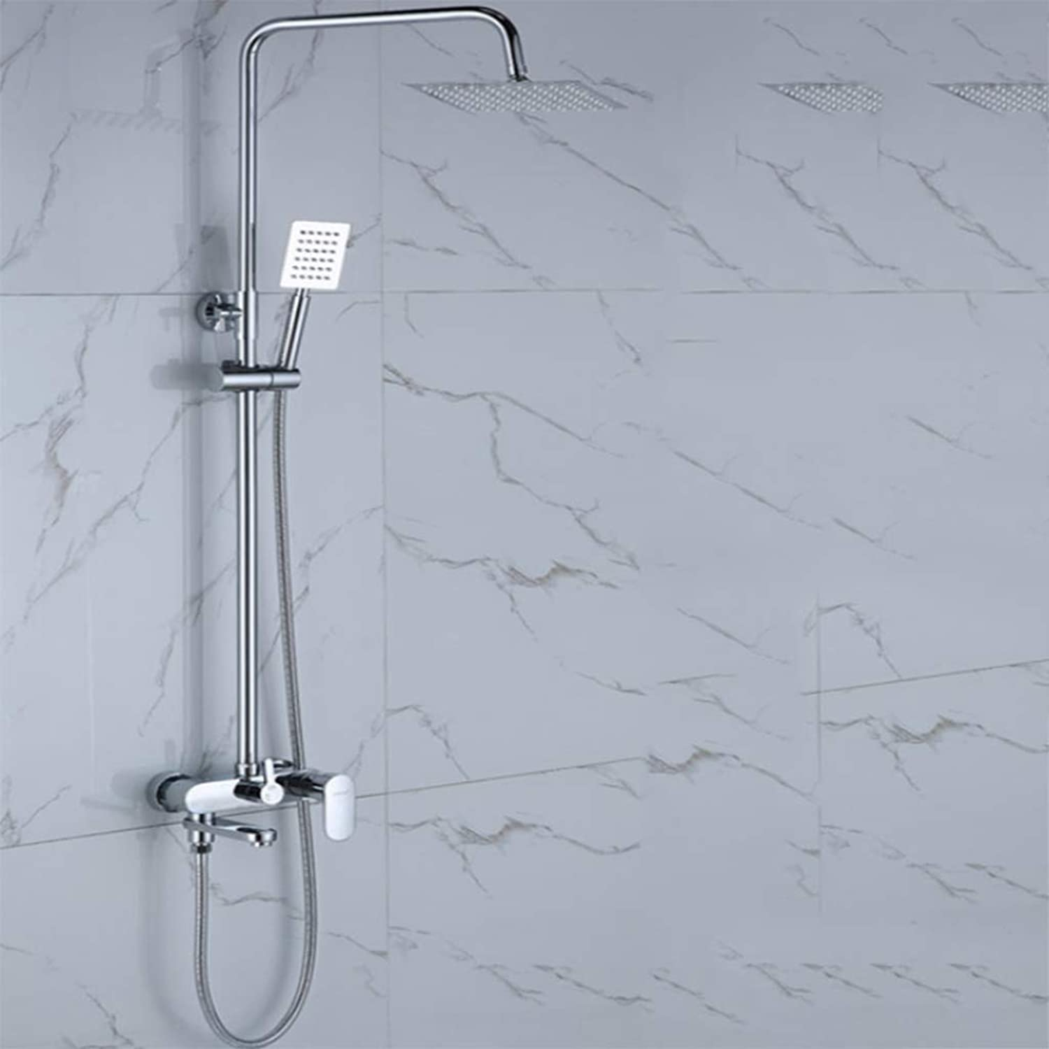 GZF Handheld Showers,Shower set, copper, wall-mounted, simple and modern, one-word quick opening three-speed shower