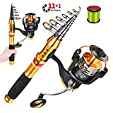 PROBEROS Caña de Pescar Telescópica y Carrete de Pesca Giratorio Combo con Sedal, Set de Aparejos de Pesca,1.8mRod+2500Reel