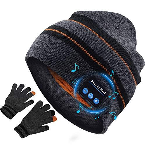 Gorro Bluetooth V5.0 Lavable Gorro con Bluetooth, Cálido y Suave Gorro de Invierno con Música y Auriculares Inalámbricos Estéreo HD para Deportes al Aire Libre, Hombres Mujer Regalos Tecnologi