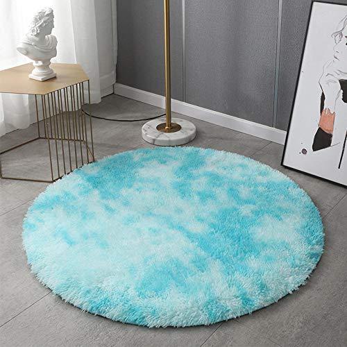 Nordic tie dye Gradient Color Round Carpet Household Shaggy Carpet Capelli lunghi Lavabile Hanging Basket Chair Tappeto Yoga Tie dye azzurro cielo diametro: 100cm