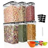 GoMaihe Botes Cocina, 6×2.5L Piezas de Recipiente de Botes Cocina Almacenaje de Plástico de Alimentos Sellados con Tapa, Se Utiliza para Almacenar Cereales Arroz, Harina, Etc