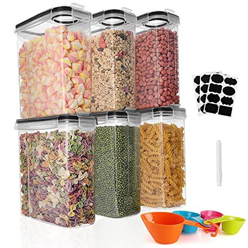 GoMaihe Contenitori Alimentari per Cereali Set 6×2.5L , Contenitori Ermetici Alimentari Plastica con Coperchio per Alimenti Set, Utilizzato per la Conservazione di Cereali, Muesli, Farina