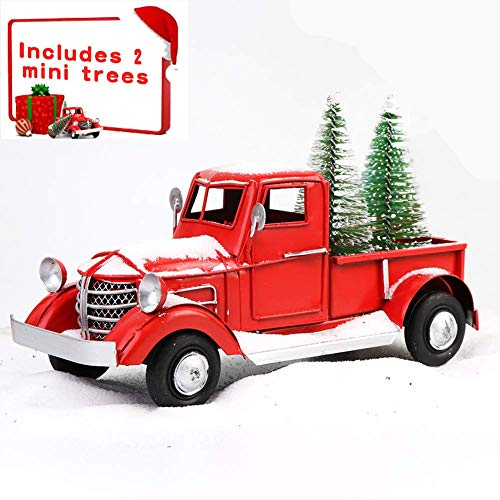 Beewarm Vintage Red Truck Decor 8.7 Inches Handcrafted Red Metal Truck Car Model for Christmas Decoration Table Decoration