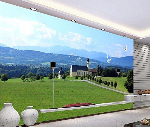 Yosot Custom behang Elke grootte 3D Mooie stijl Oostenrijks landschap tv-wandbehang voor muren 3D-behang 400 x 280 cm.