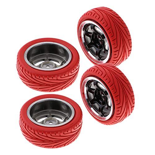 Hellery 4pcs 1/10 RC Racing Car Goma Neumáticos Neumáticos Y Ruedas 12 Mm para HSP