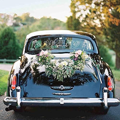 Konsait Just Married Auto Aufkleber, Heckscheiben Autoaufkleber Sticker für die Hochzeit Auto Dekoration, Hochzeitsreise Wochenende, Heiraten, Wetterfeste und abnehmbar (Packung von 2)