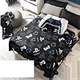 Playstation Videogame Light Blanket Boy Black Teens Queen Comforter Bedding Controller Cushion 2 PCS