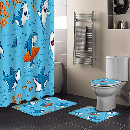 ZDDWLDL Duschvorhang-Set Blauer Brauner Cartoon-Skateboard-Tierhai Badezimmerteppich-Set 3D Gedruckter Duschvorhang Polyester Wasserdicht rutschfest Badvorleger WC-Deckelbezug 180x180 cm