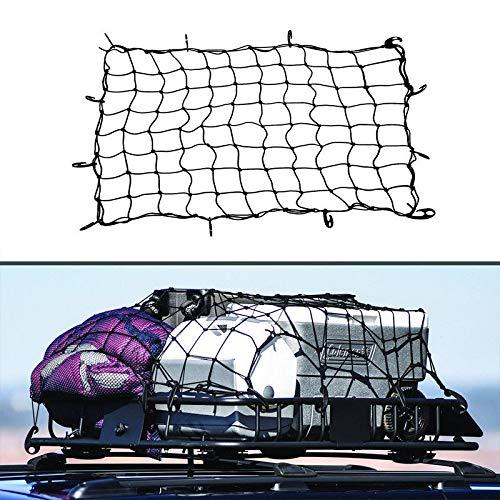 Preisvergleich Produktbild REEMILY Großes elastisches Auto Fracht ordentliches Netz Stauraum Boot Netz Fixpunkte Saftey 120 X90cm Organizer Trailer Dachgepäckträger Boot Bungee Cord