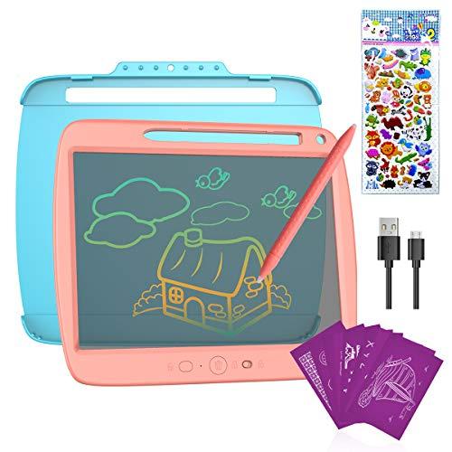 ERAY Tablet de Escritura para Niños LCD 9 Pulgadas Colorida, Semi-Transparente/8 Plantillas Regaladas/Doble Punta del Lápiz/USB Carga/Anti-Golpes/Función de Bloqueo, Color Rosa 🔥